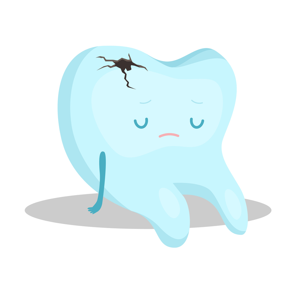 cartoon tooth graphic, looking sad, with hole in crown